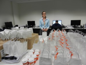 Stuffing goodie bags at Lumo